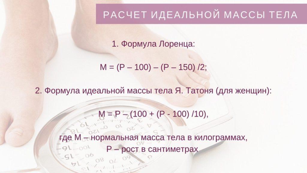 Формула расчета идеального веса